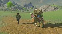 Link travels with a large equipment in Breath of the Wild