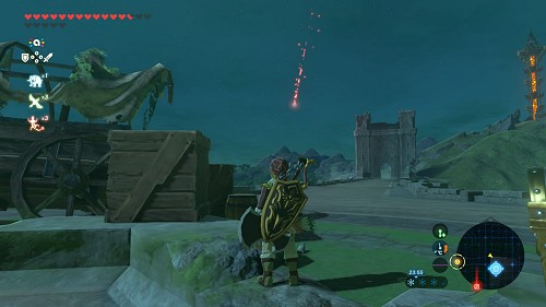A red shooting star in Breath of the Wild