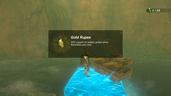 a floating golden rupee in Faron Breath of the Wild