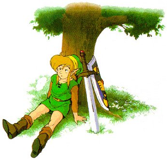 Link having a rest in Link's Awakening
