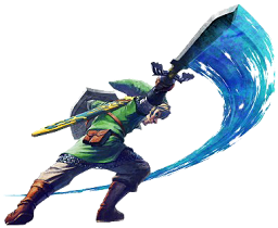 Link swinging his sword in Skyward Sword