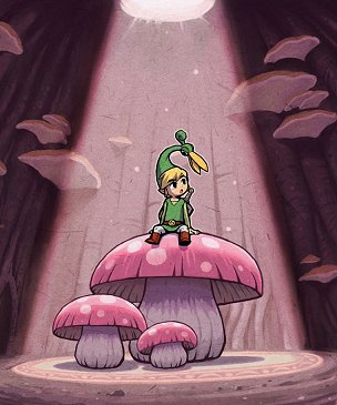Link on a mushroom The Minish Cap